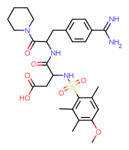 [N-[n-(4-methoxy-2,3,6-trimethylphenylsulfonyl)-l-aspartyl]-d-(4-amidino-phenylalanyl)]-piperidine diagram
